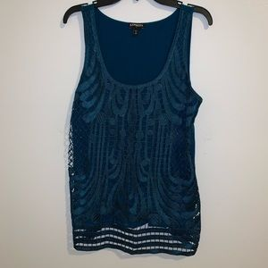 Sleeveless Teal Patterned Express Top